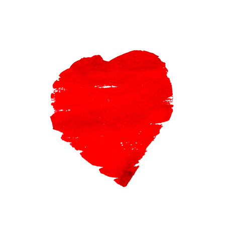 Hand-drawn painted red heart. Watercolor heart isolated on white background. vector element for your design Ilustração