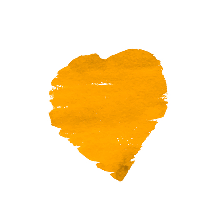 Hand-drawn painted yellow heart. Watercolor heart isolated on white background. vector element for your design