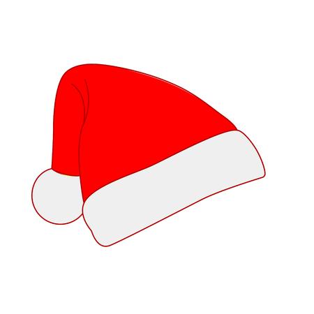 Red Santa hat, simple flat design. Vector illustration Ilustração