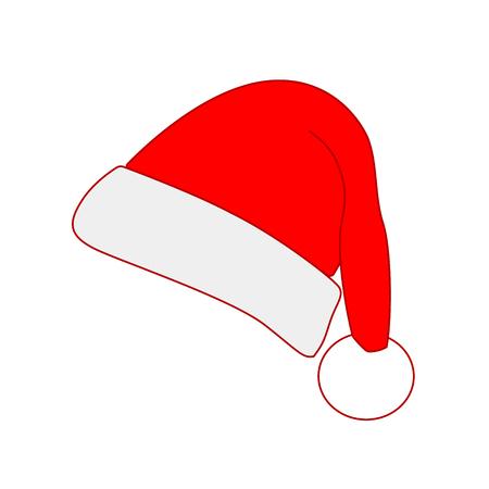 Red Santa hat, simple flat design. Vector illustration Illustration