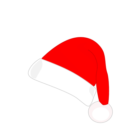 Red Santa hat, simple flat design. Vector illustration Zdjęcie Seryjne