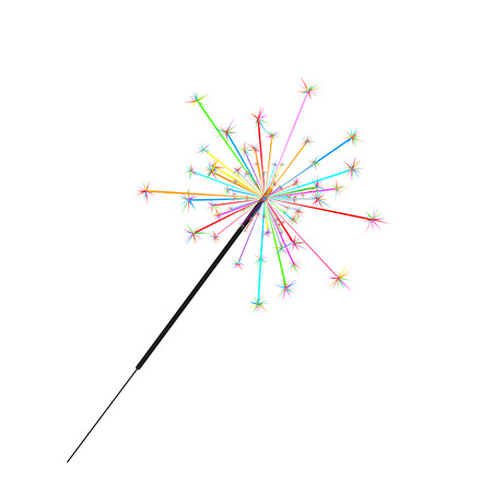 Bengal or indian light sparkler, Bright sparks , Bengal fire firework isolated . Salute element for celebration of holidays and parties, weddings and birthdays. Fireworks icon
