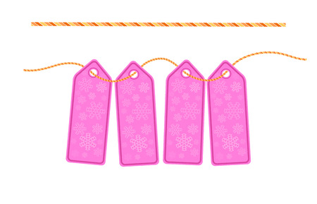cardboard sale labels. Christmas labels with brush rope. Vector.