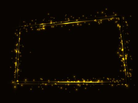 Golden shiny frame on a black background, framed by many Golden lights.Vector illustration