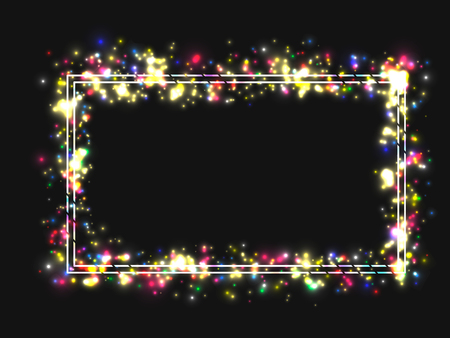 Vector frame in a frame of bright colored lights. On black background. Vector illustration
