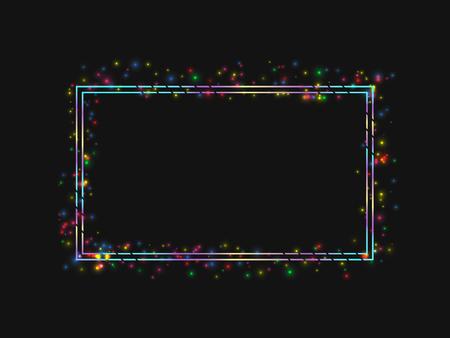 Vector frame in a frame colored lights. On black background. Vector illustration