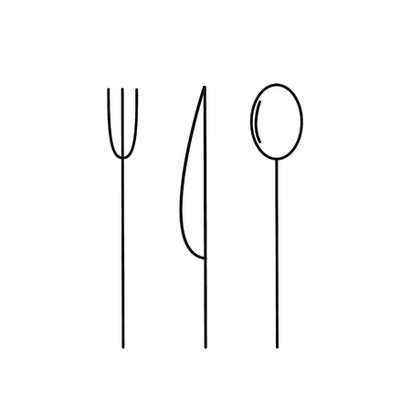 Cutlery set knife spoon and fork. Slim black outline silhouette. Vector illustration Vettoriali