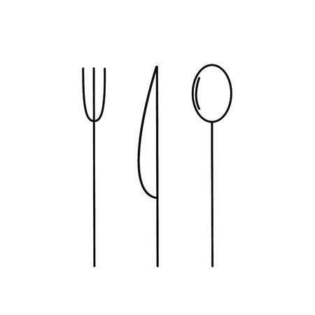 Cutlery set knife spoon and fork. Slim black outline silhouette. Vector illustration Illustration