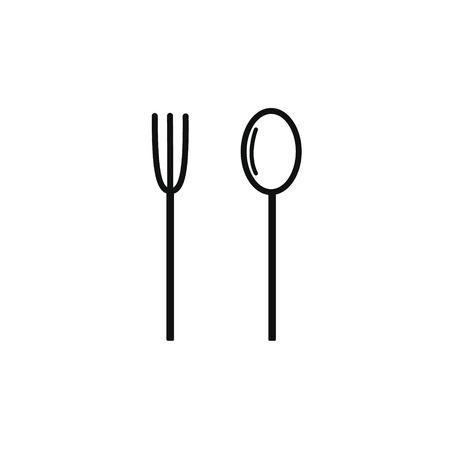 Cutlery set spoon and fork. Slim black outline silhouette. Vector illustration