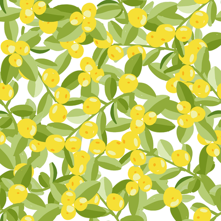 Seamless vector background, green branches with leaves and ripe tangerines. Vegetable fruit texture. On a transparent background.
