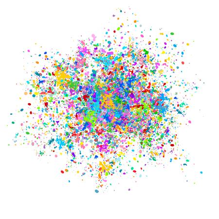 Multi-gekleurde vector achtergrond van kleurrijke druppels en spatten van verf. Holi Festival van kleuren vectorillustratie.