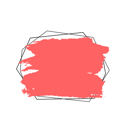 Abstract background. Ink brush strokes with rough edges. Vector frame coral color