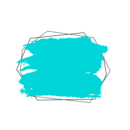 Abstract background. Ink brush strokes with rough edges. Vector frame turquoise color