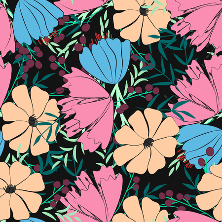 seamless pattern On black background. of flowers, berries, leaves and twigs of fantasy plants. Wild field flowers. Vector illustration