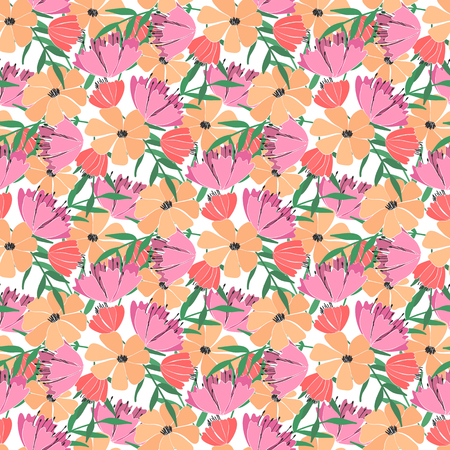 seamless pattern of flowers, berries, leaves and twigs of fantasy plants. Wild field flowers. Vector illustration