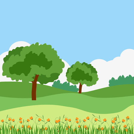 Simple summer green landscape, with trees, bushes and hills. The sky and clouds in the background. Grass and flowers in the foreground. vector