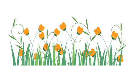 Grass Border with flowers , Vector Illustration.