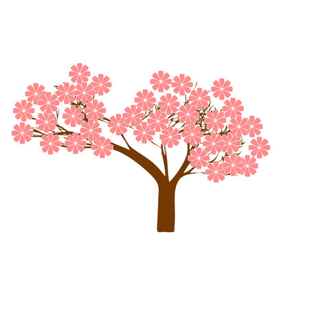 Flowering tree. Vector illustration. Simple flat design.