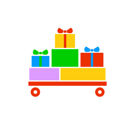 Gift boxes , gifts on the red cart. Colorful wrapped. Sale, shopping concept. Collection for Birthday, Christmas. For Vector Cartoon flat design