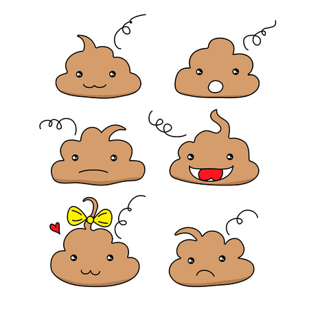 Set of cute funny poop emoticon smileys. Emotional shit kawaii icons.Happy,smiling, angry,sad, pretty. Vector flat cartoon character illustration icon