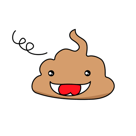 cute funny poop emoticon smileys. Emotional shit kawaii icons.Happy,smiling, angry,sad, pretty. Vector flat cartoon character illustration icon. Ilustrace