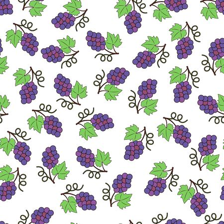 Small brushes of ripe grapes . Seamless vector background