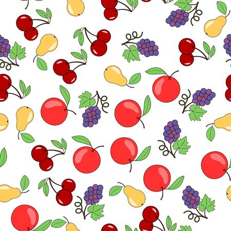 Background of fruits and berries. Apples pears and grapes. Seamless vector background
