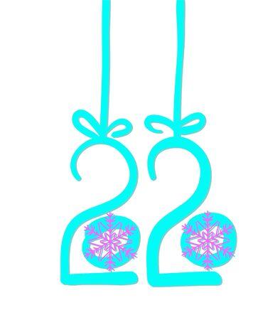 2020 hand-drawn. Calendar new year. Vector illustration
