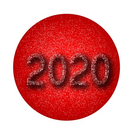 Number 2020 on a dark background. White numbers. Vector New Year illustration