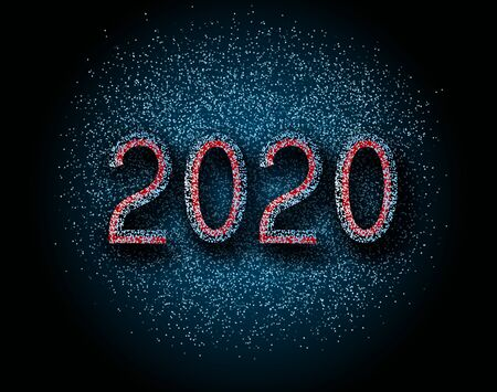 Number 2020 on a dark background. Golden numbers on blue background. Vector New Year illustration.
