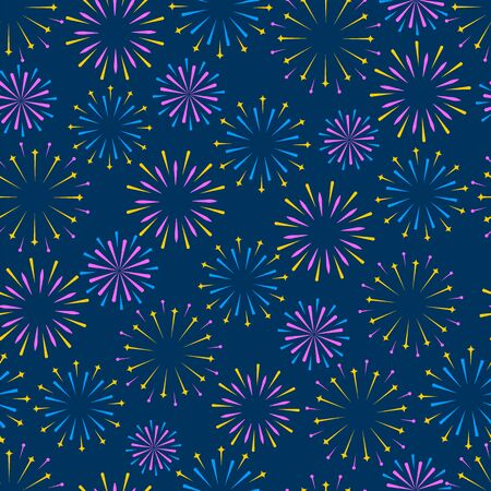 Seamless vector background. Festive fireworks, colorful lights, firecracker on a blue background. Flat design.