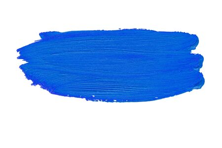 A smear of blue paint. Bright acrylic paint. Brush stroke texture isolated on white