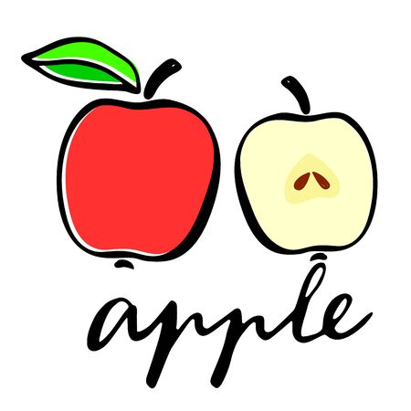 A red apple, and an apple in the cut. Flat vector illustration. Lettering word apple