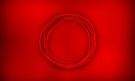 Dark red vector background with a round shape in the center. Round-shaped rope or wire, scribbles.