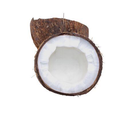 Coconut. Half coconut isolated on white background. Archivio Fotografico