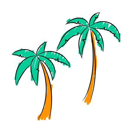 Two palm trees, the sketch simulates painting with a felt-tip pen. vector