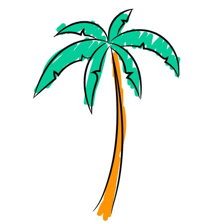 One palm tree, the sketch simulates painting with a felt-tip pen.