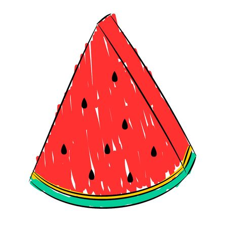 Triangular slice of watermelon. Vector drawing that simulates drawing with a felt-tip pen.