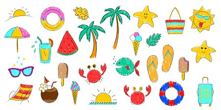 A set of vector icons on the theme of summer holidays on the sea coast. Illustration