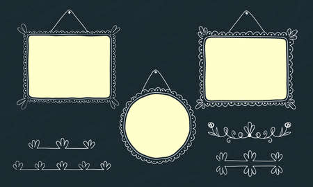 Photo frames vintage, Doodle style. Frame set. Square, round and rectangular frames decorated with curls. Suitable for Easter card decoration