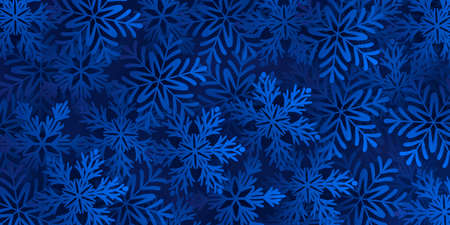 Dark blue background with large blue snowflakes. Vector illustration