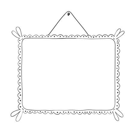Photo frames vintage, Doodle style. Frame set. Square, round and rectangular frames decorated with curls.