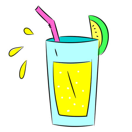 Blue glass cocktail with yellow drink, with juice tube and citrus slice. Splashes of juice. Sketch doodle 矢量图像