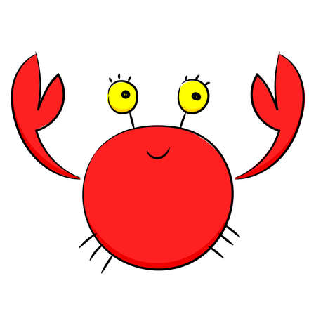 Cartoon red crab, funny crab with round eyes. Vector sketch, Doodle.