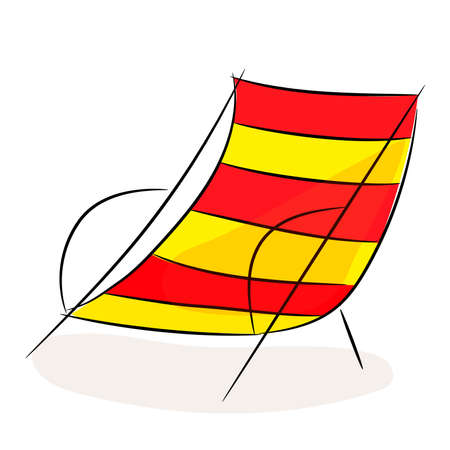 Hand drawn illustration in black ink on white background. A beach bed in doodle style. Isolated outline. Sketch drawing of a striped lounge chair.
