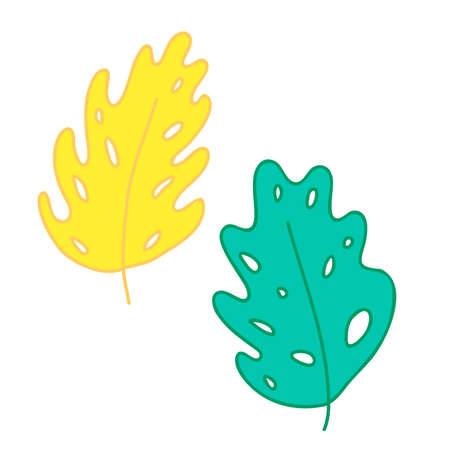 Tropical sheet painted in a childish style. Leaves with holes.