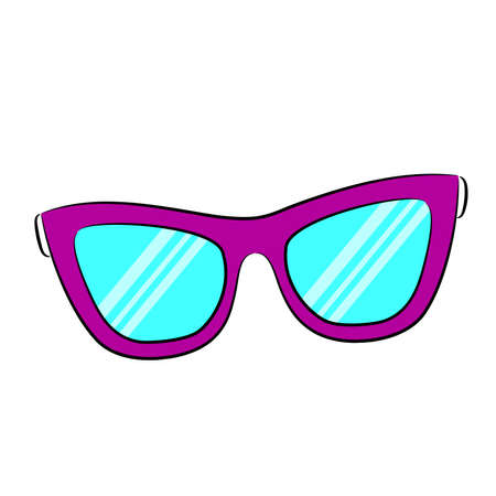 Colorful glasses and cute little stars. Vector sketch doodle.