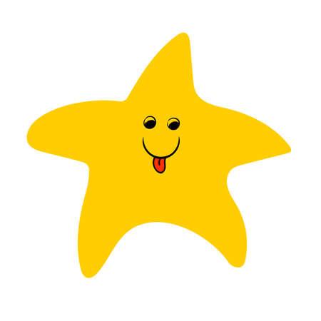 A small yellow starfish, a cartoon character. 矢量图像