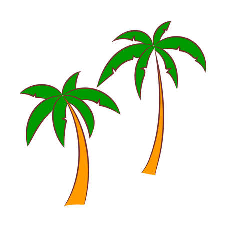 Two palm trees, the sketch simulates painting with a felt-tip pen.