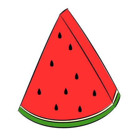 Triangular slice of watermelon. Vector drawing that simulates drawing with a felt-tip pen